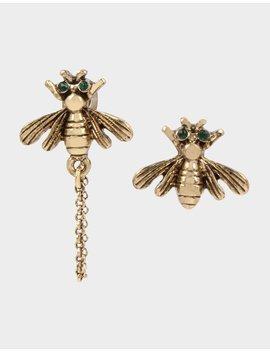 Tortifly Bee Mismatch Earrings Gold by Betsey Johnson