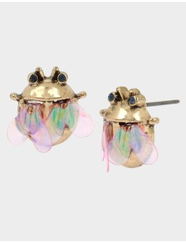 Tortifly Fly Stud Earrings Pink by Betsey Johnson