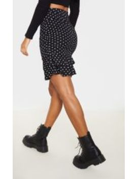 white-polka-dot-ruched-frill-hem-mini-skirt- by prettylittlething