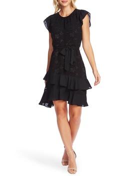 clip-floral-flutter-sleeve-dress by cece