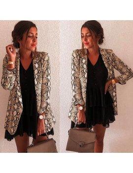 ilh-women-snake-print-long-sleeve-suit-coat-blazer-biker-jacket-outwear-tops by ilh