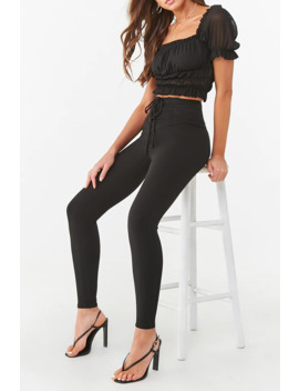 lace-up-textured-leggings by forever-21