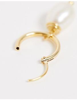 asos-design---créoles-en-argent-massif-plaqué-or-avec-breloque-perle by asos-design