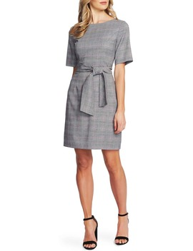 plaid-tie-front-sheath-dress by cece