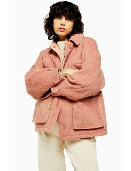 pink-brushed-jacket by topshop