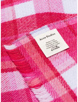 Pink Victoria Check Wool Scarf by Acne Studios