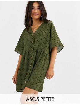asos-design-petite-v-neck-button-through-mini-smock-dress-in-spot by asos-design