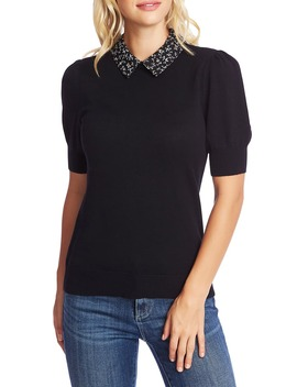 budding-floral-collar-short-sleeve-sweater by cece