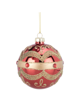 Red With Gold Pattern Bauble by The Range