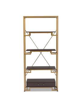 cerelia-gold-and-espresso-bookcase by baxton-studio