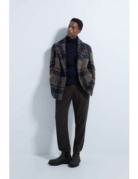 check-textured-pea-coat by zara