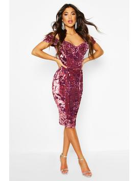 velvet-sequin-cupped-off-the-shoulder-midi-dress by boohoo