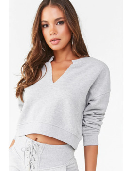 split-neck-french-terry-sweatshirt by forever-21