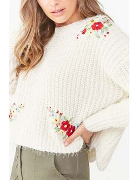 floral-embroidered-knit-sweater by forever-21