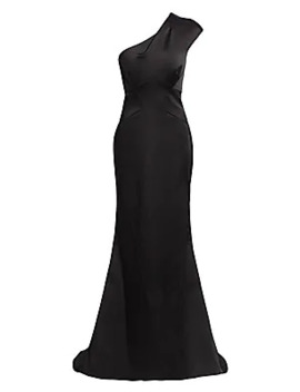 one-shoulder-stretch-satin-gown by zac-posen