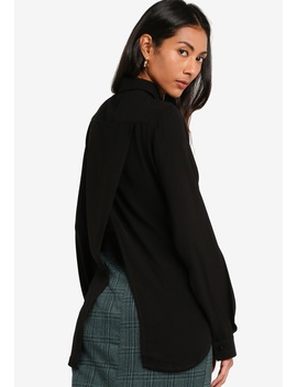 Basic Slit Back Shirt Blouse by Zalora Basics