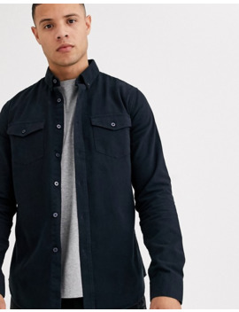 new-look-double-pocket-twill-shirt-navy by new-look