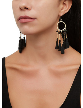 Metallic Circle Tassel Drop Earrings by Rainbow