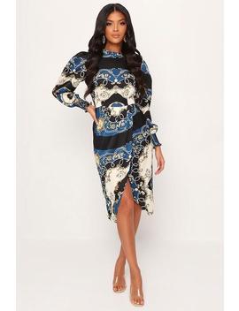 multi-chain-print-high-neck-midi-dress by i-saw-it-first