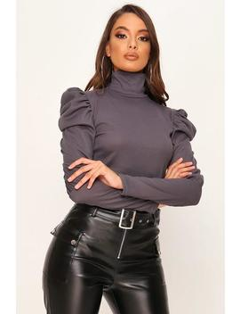 charcoal-jumbo-rib-puff-sleeve-roll-neck-top by i-saw-it-first