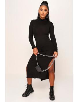 black-long-sleeve-side-split-bodycon-midi-dress by i-saw-it-first