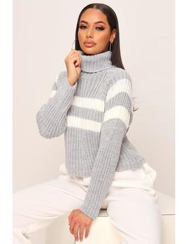 grey-stripe-roll-neck-knitted-jumper by i-saw-it-first