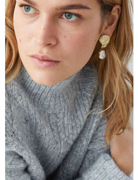 Hammered Pearl Pendant Earrings by & Other Stories