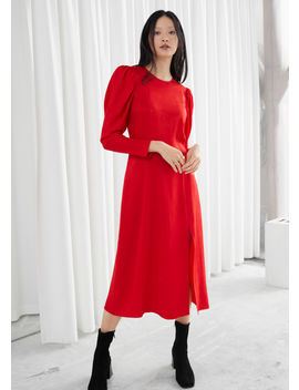 jacquard-puff-sleeve-midi-slit-dress by &-other-stories