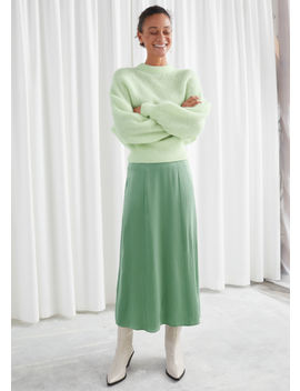 Satin Bias Cut Midi Skirt by & Other Stories