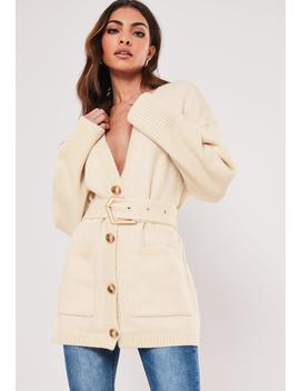 cream-belted-slouchy-knitted-cardigan by missguided