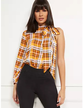 plaid-one-shoulder-top by new-york-&-company