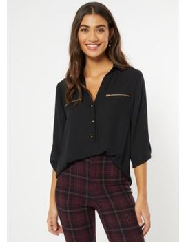 Black Zip Pocket Button Front Blouse by Rue21