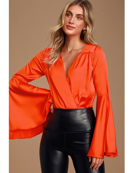 selby-bright-red-satin-bell-sleeve-surplice-bodysuit by lulus