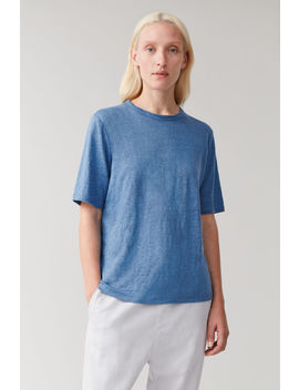 Linen Round Neck T Shirt by Cos