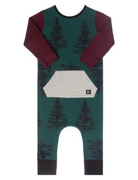 forest-print-kangaroo-pocket-romper by rags