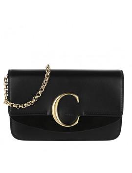 C Clutch With Chain Black by Chloé