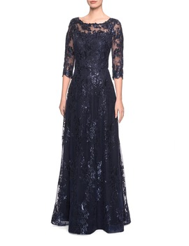 shimmer-sequin-lace-evening-dress by la-femme