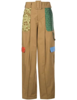 patchwork-wide-leg-cargo-trousers by rosie-assoulin