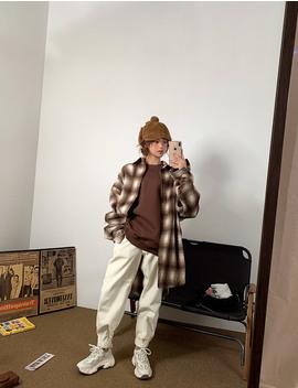 timber-plaid-oversize-shirt by chuu