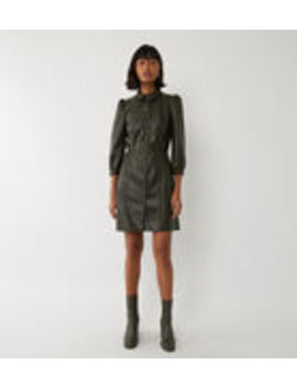 Faux Leather Mini Shirt Dress by Warehouse