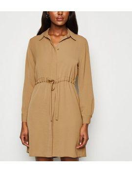 camel-drawstring-waist-shirt-dress by new-look