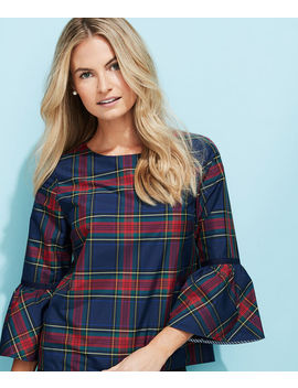 Jolly Plaid Bell Sleeve Top by Vineyard Vines