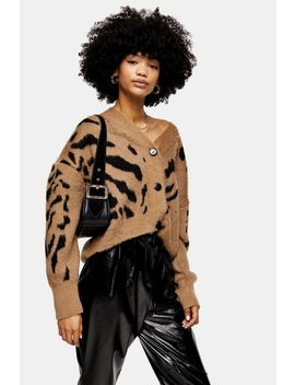 Camel And Black Animal Marking Knitted Cardigan by Topshop