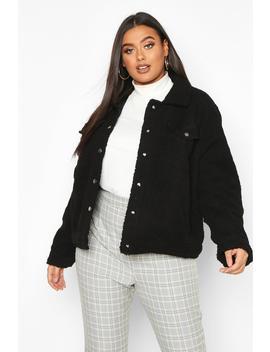 plus-teddy-faux-fur-moto-jacket by boohoo