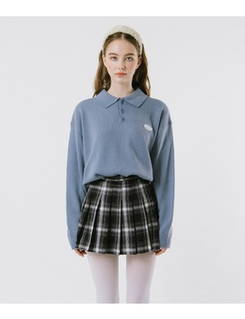 Untitle8  Sky Blue Collared Knit Top by Mixxmix