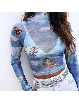 Camiseta Para Mujer, Camiseta Para Mujer, Camisetas Atractivas, Camiseta Estampada, Camiseta De Malla Elástica, Pintura Superior, Manga Larga Para Mujer, Camisetas Vintage by Ali Express.Com