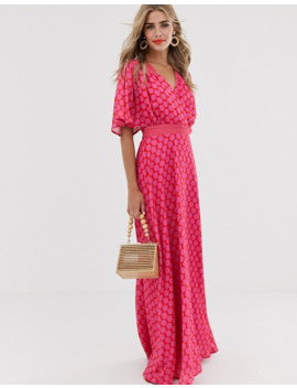 twisted-wunder-ruched-waist-detail-maxi-dress-in-pink-and-red-polka-dot by asos