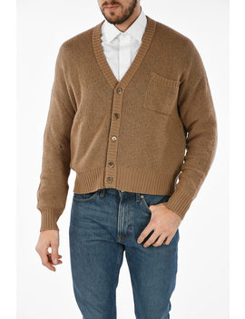 Cashmere Button Fastening Along Front Cardigan by Prada