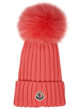 pink-pompom-wool-beanie by moncler