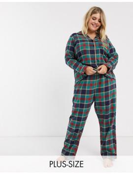 chelsea-peers-plus-size-check-printed-pyjama-with-embroidered-slogan-pocket by chelsea-peers